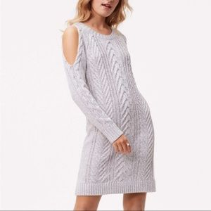 LOFT Gray Cableknit Cold Shoulder Sweater Dress M